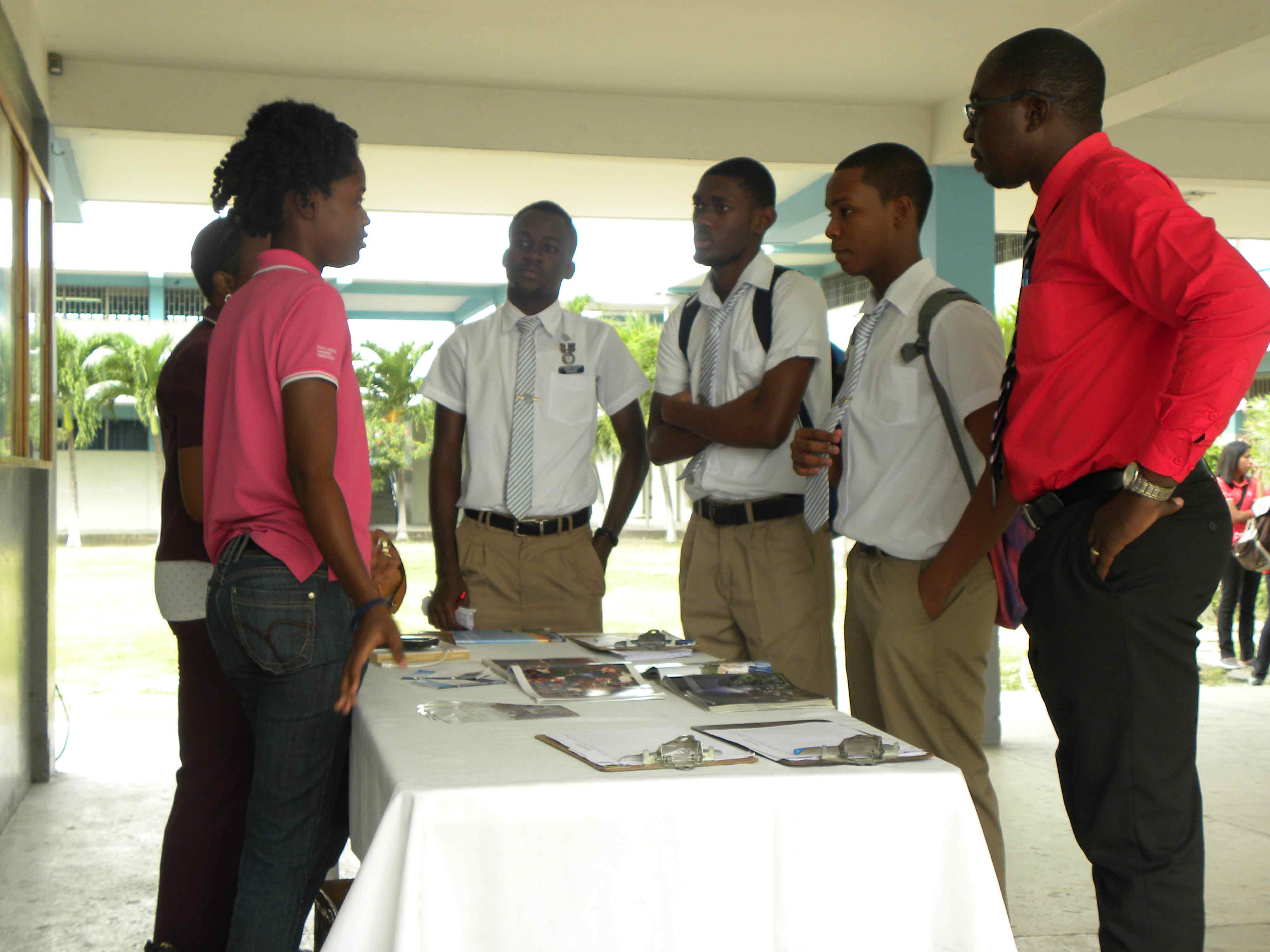 Students flock the promotion table to learn how to join the IYF